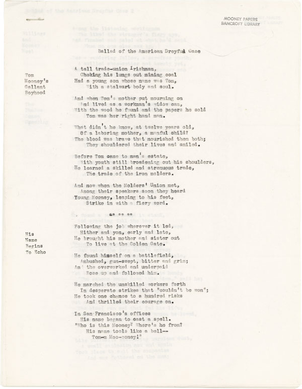 Ballad of the American Dreyfus Case. SOCIALISTS, ANONYMOUS, Tom MOONEY.