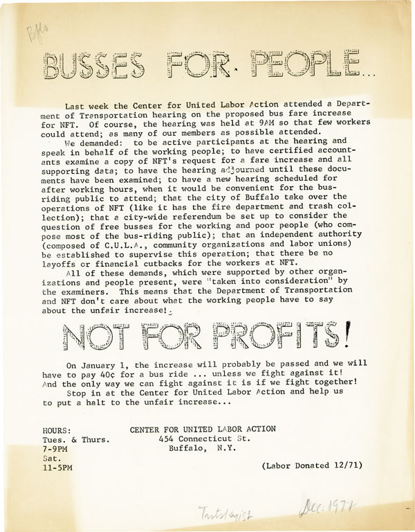[Drop title] Busses [sic] for People / Not for Profits! ORGANIZED LABOR, CENTER FOR UNITED LABOR ACTION, NY BUFFALO.