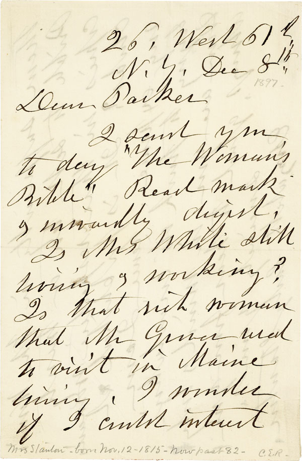 Autograph Letter, Signed. 2pp, signed, to Parker Pillsbury, Dec. 8th, 1895. WOMEN'S HISTORY, LITERATURE - SUFFRAGE.