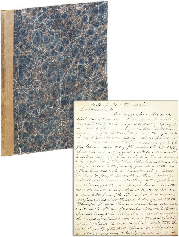 Manuscript Record Book of Justice of the Peace Edward B. Moore of Rockingham County, New Hampshire. LAW - NEW HAMPSHIRE, Edward B. MOORE.