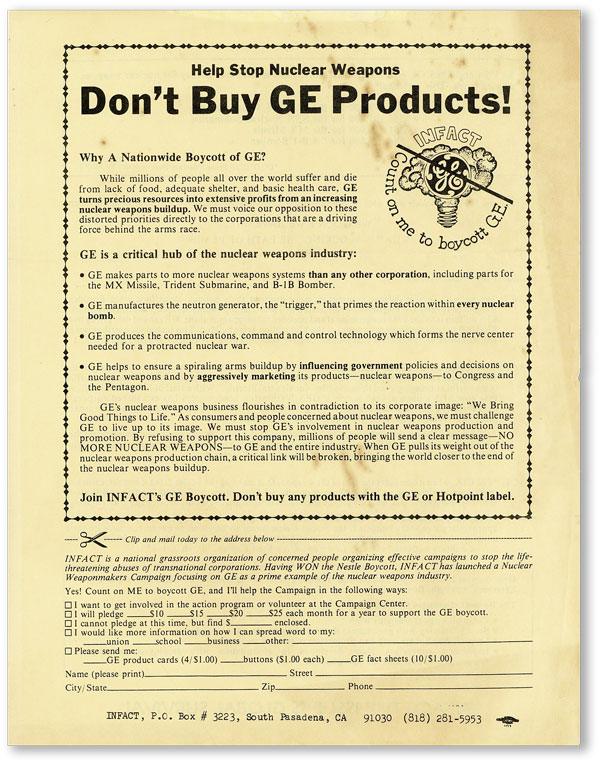 [Broadsheet] Help Stop Nuclear Weapons / Don't Buy GE Products! INFACT.