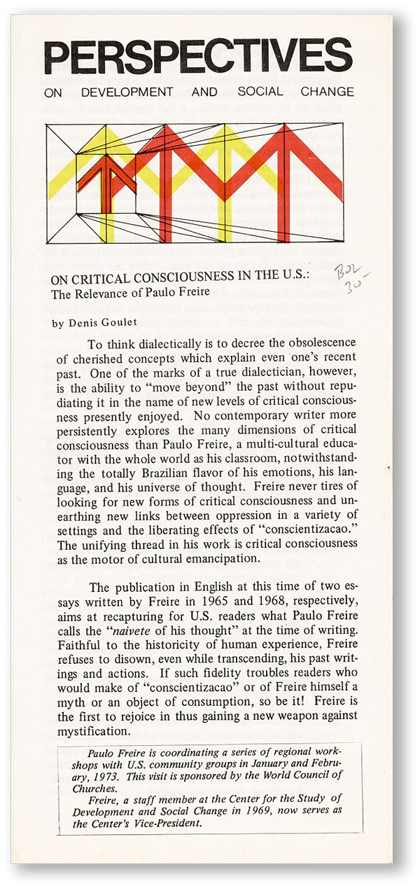 On Critical Consciousness in the U.S.: the Relevance of Paulo Freire. Denis GOULET.