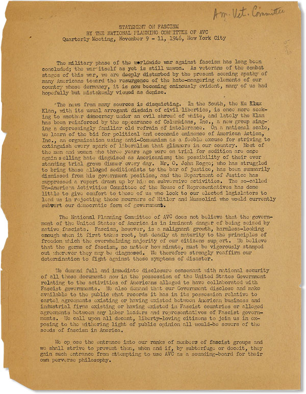 [Drop title] Statement on Fascism by the National Planning Committe of AVC, Quarterly Meeting, November 9 - 11, 1946, New York City. AMERICAN VET COMMITTEE - NATIONAL PLANNING COMMITTEE.