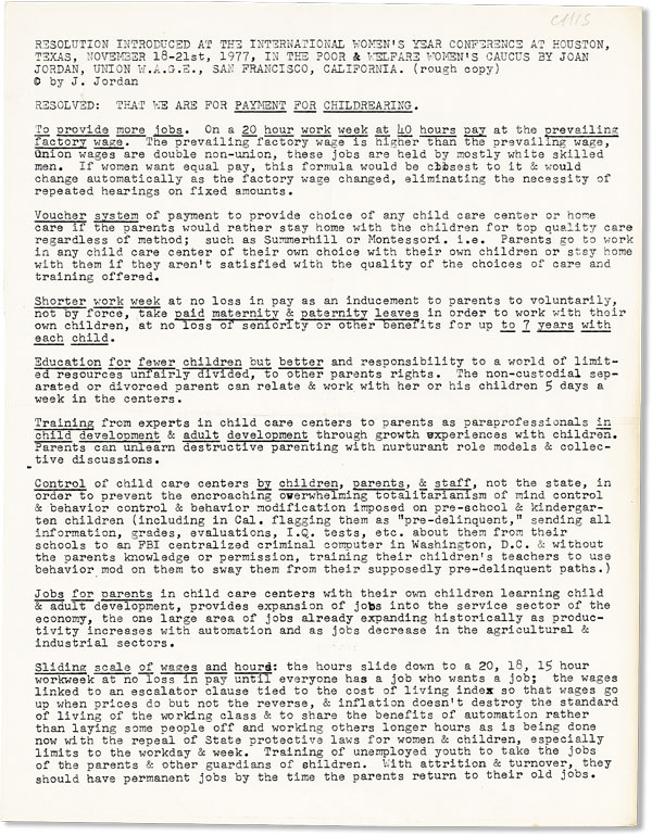 [Drop title] Resolution Introduced at the International Women's Year Conference at Houston, Texas, November 18-21st, 1977, in the Poor & Welfare Women's Caucus ... (Rough copy). Joan JORDAN.
