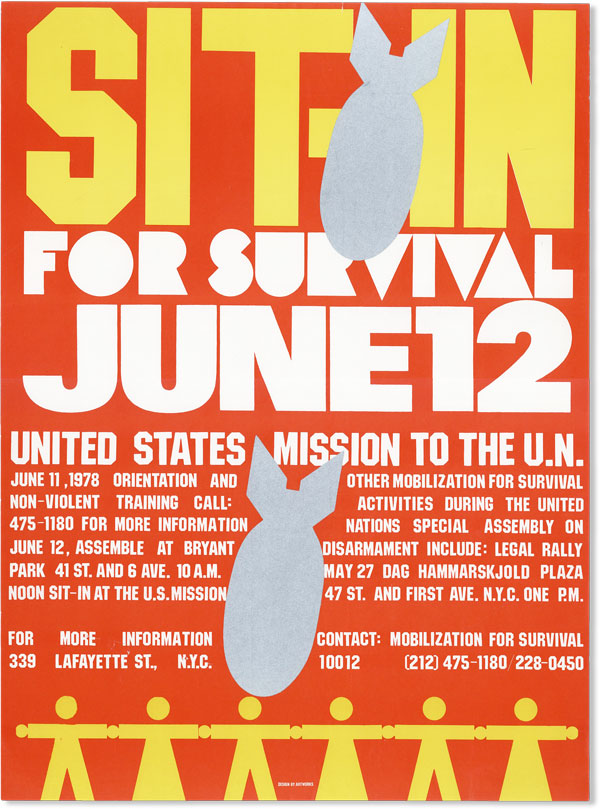 Poster: Sit-in for Survival June 12. MOBILIZATION FOR SURVIVAL, design ARTWORKS.