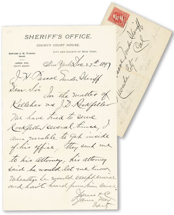 ALS, 1pp, Dec. 27th, 1897. To Under Sheriff J.H. Pascoe, Nevada City, California. JOHN D. ROCKEFELLER, James FAY, Deputy Sheriff.