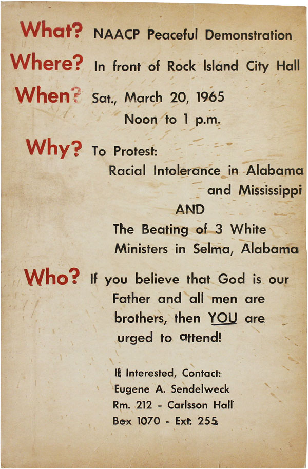 """Poster: """"What? NAACP Peaceful Demonstration. Where? In front of Rock Island City Hall. When? Sat., March 20, 1965 Noon to 1 p.m."""" AFRICAN AMERICANA, NAACP."""