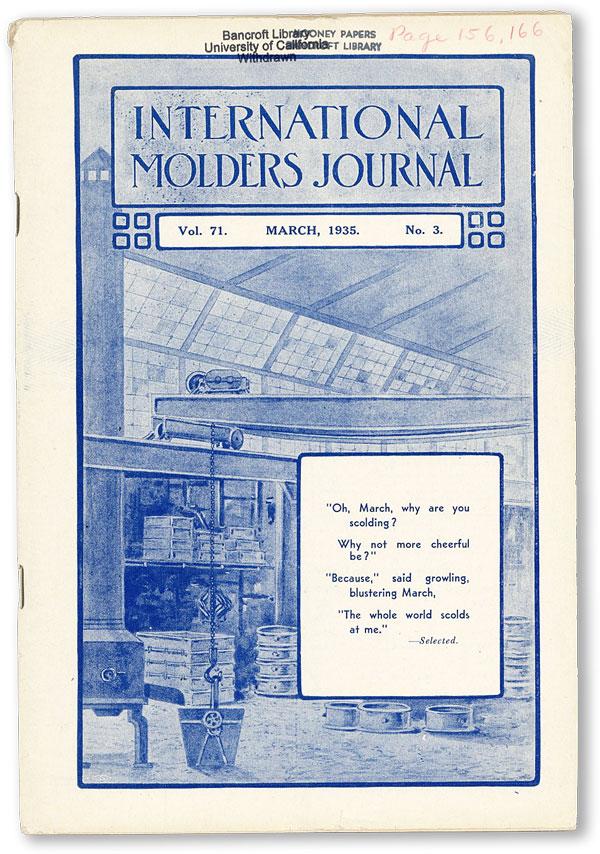 International Molders Journal. Vol. 71, no.3 (March 1935). INTERNATIONAL MOLDERS' UNION OF NORTH AMERICA.