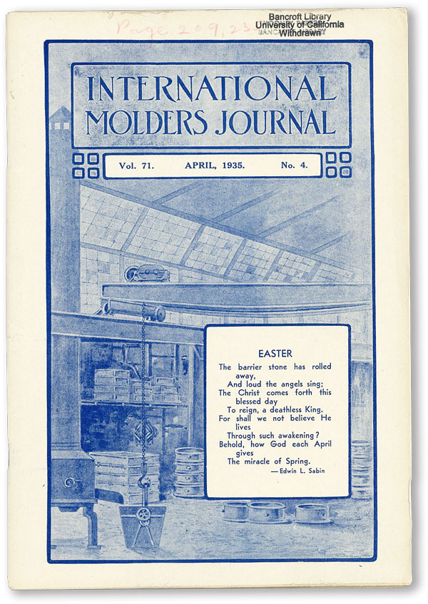 International Molders Journal. Vol. 71, no.4 (April 1935). INTERNATIONAL MOLDERS' UNION OF NORTH AMERICA.
