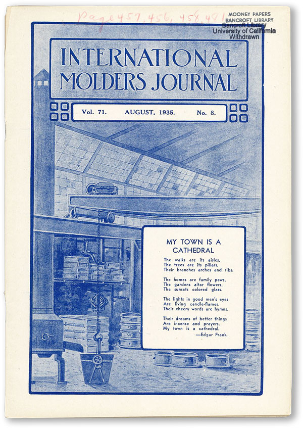 International Molders Journal. Vol. 71, no.8 (August 1935). INTERNATIONAL MOLDERS' UNION OF NORTH AMERICA.