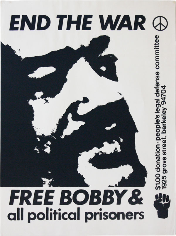 End The War - Free Bobby & all political prisoners. NEW LEFT / COUNTERCULTURE, ANONYMOUS ARTIST.