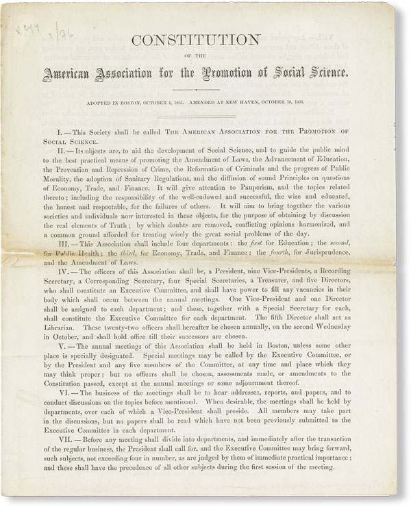 Constitution of the American Association for the Promotion of Social Science. Adopted in Boston, October 4, 1865. Amended at New Haven, October 10, 1866. AMERICAN ASSOCIATION FOR THE PROMOTION OF SOCIAL SCIENCE.