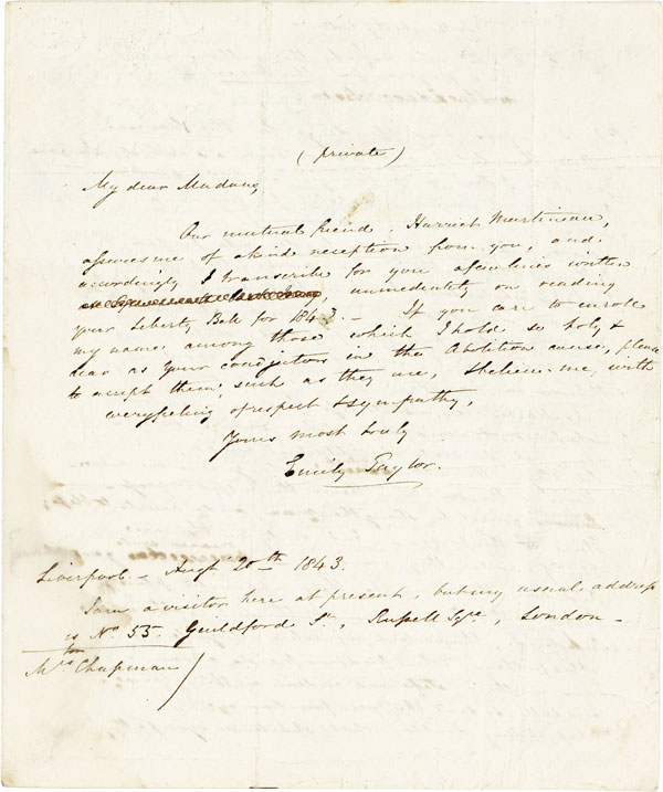 "Autograph Letter Signed to Eliza Lee [Cabot] Follen, including Manuscript Poem ""For the Liberty Bell."" 4pp, dated August 10th, 1843. AFRICAN AMERICANA, SLAVERY, ABOLITION, ABOLITION - WOMEN AUTHORS."