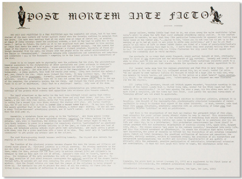 "Original Broadside: Post Mortem Ante Facto. NEW LEFT - SITUATIONISM, ""Anonymous Proletarian"", Bruce Elwell."