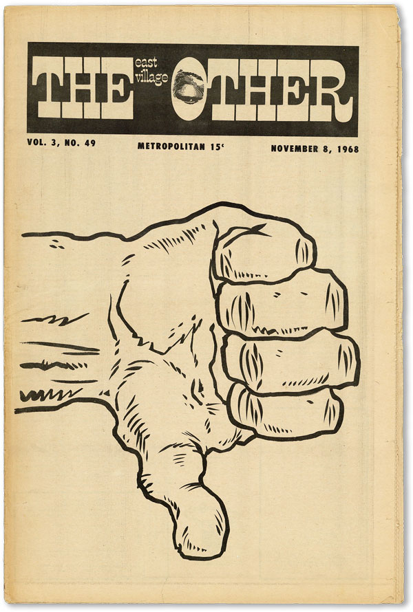The East Village Other - Vol.3, No.49 (November 8, 1968). UNDERGROUND NEWSPAPERS, Vaughn BODE, Spain Rodriguez, contributors.