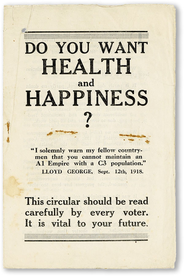 Do You Want Health and Happiness? [...] This circular should be read carefully by every voter. It is vital to your future. NATIONAL UNIONIST ASSOCIATION.