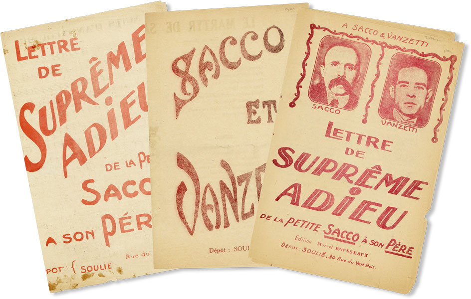 Three Pieces of Sheet Music Supporting the Cause of Sacco & Vanzetti. ANARCHISM, SACCO, VANZETTI.