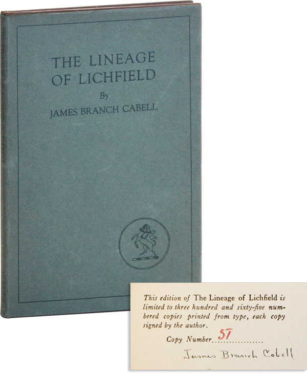 The Lineage of Lichfield: an Essay in Eugenics [Signed, Limited ed]. James Branch CABELL.