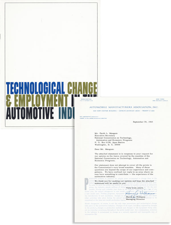 Technological Change & Employment in the Automotive Industry [Typed Letter, Signed, Bound in]. AUTOMOBILE MANUFACTURERS ASSOCIATION.