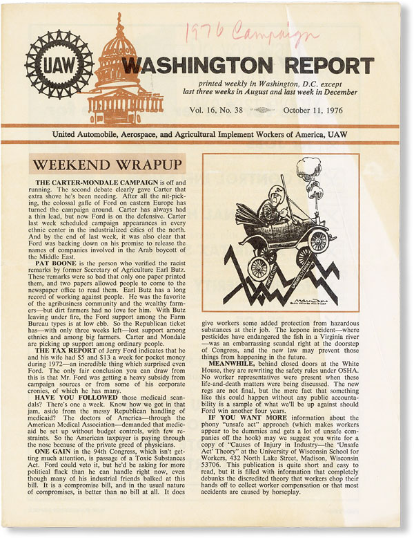 UAW Washington Report, Vol. 16, no. 38, October 11, 1976. AEROSPACE UNITED AUTOMOBILE, UAW, AND AGRICULTURAL IMPLEMENT WORKERS OF AMERICA.