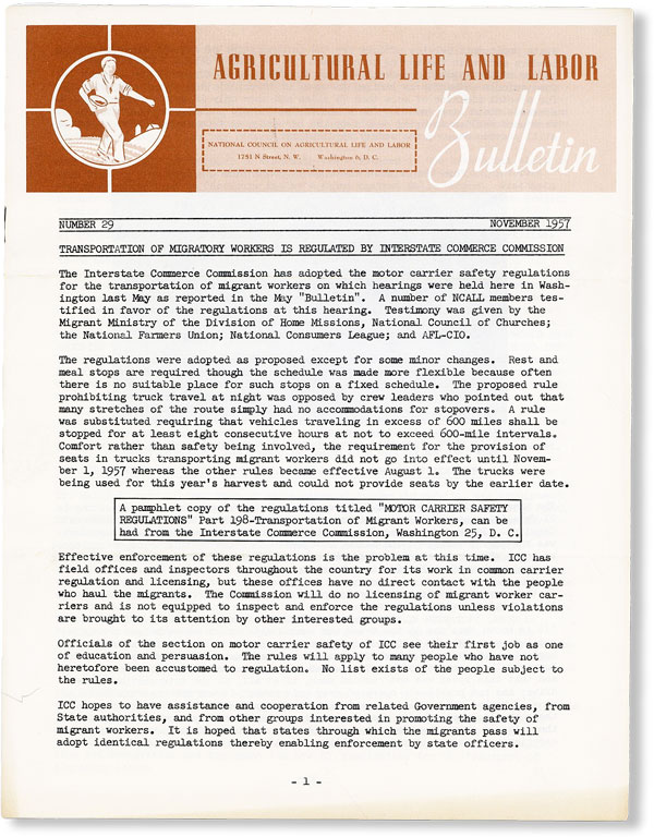 Agricultural Life and Labor Bulletin, No. 29, November, 1957. NATIONAL COUNCIL ON AGRICULTURAL LIFE AND LABOR.