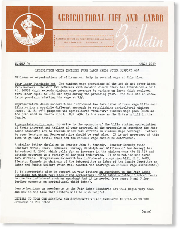 Agricultural Life and Labor Bulletin, No. 34, March, 1959. NATIONAL COUNCIL ON AGRICULTURAL LIFE AND LABOR.