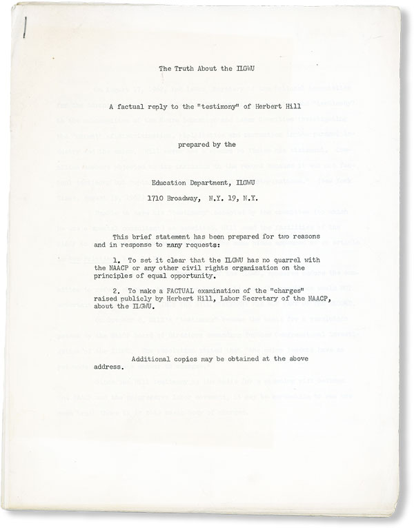"""The Truth About the ILGWU: A Factual Reply to the """"Testimony"""" of Herbert Hill. INTERNATIONAL LADIES' GARMENT WORKERS UNION."""
