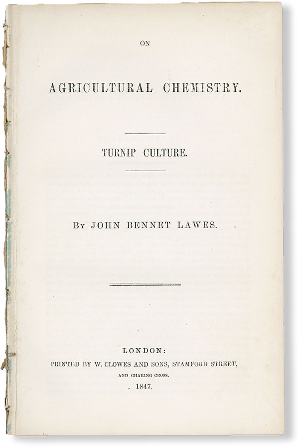 On Agricultural Chemistry. Turnip Culture. AGRICULTURE, HUSBANDRY.