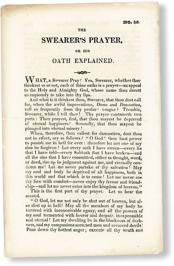 The Swearer's Prayer, or His Oath Explained [No. 50]. AMERICAN TRACT SOCIETY.