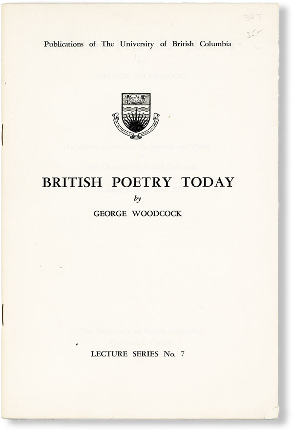 British Poetry Today. George WOODCOCK.