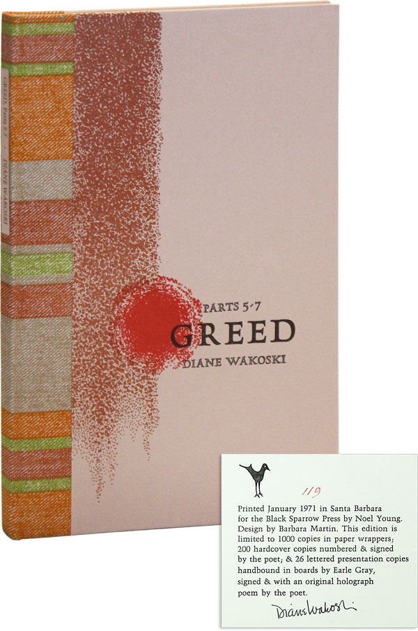 Greed Parts 5-7 [Limited Edition, Signed]. Diane WAKOSKI.