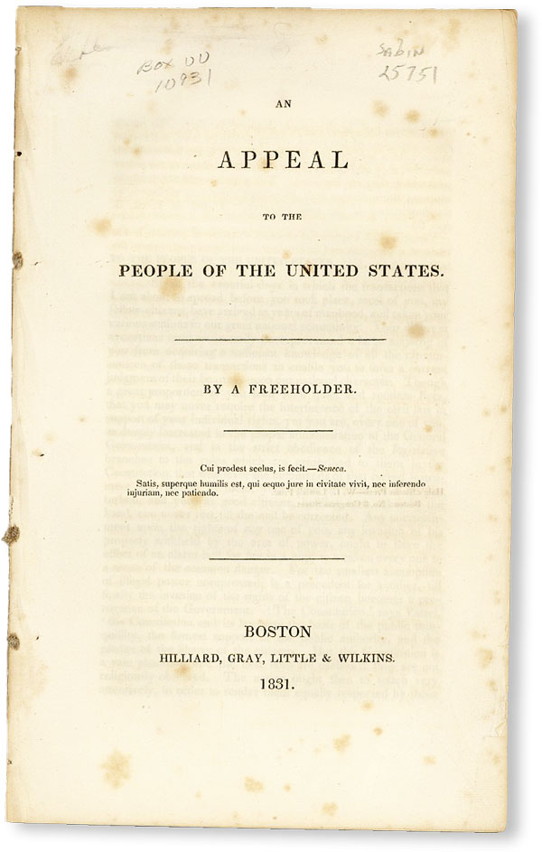 """An Appeal to the People of the United States. """"A FREEHOLDER"""""""