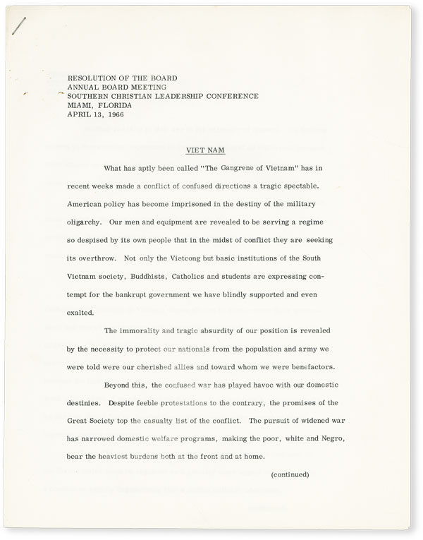 Resolution of the Board. Annual Board Meeting, Southern Christian Leadership Conference. Miami, Florida, April 13, 1966 - Vietnam. AFRICAN AMERICANA, SCLC.