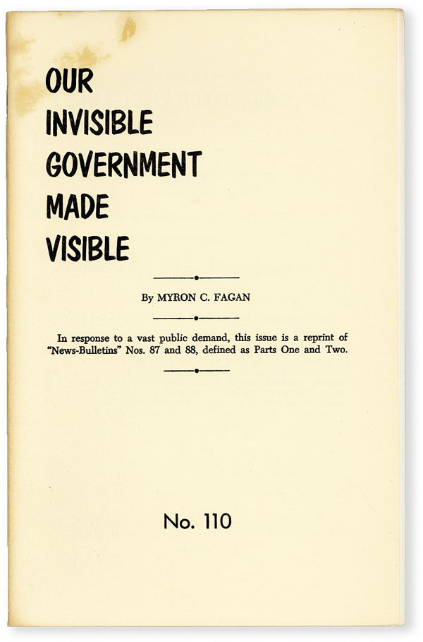 Our Invisible Government Made Visible. ANTISEMITIC PROPAGANDA, Myron C. FAGAN, Coureval.