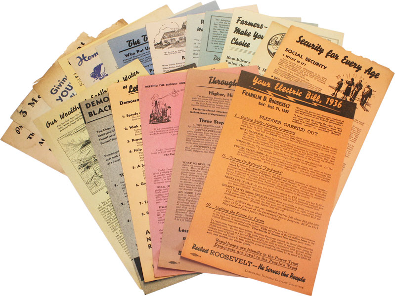 19 Democratic Party Campaign Broadsides for the Elections of 1938. FDR, Democratic National Campaign Committee, NEW DEAL.