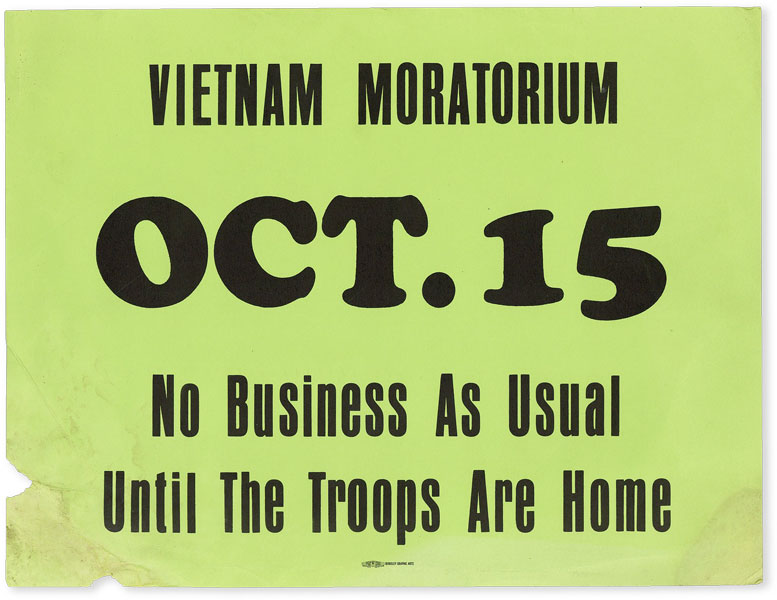 Broadside: Vietnam Moratorium OCT.15 - No Business As Usual Until The Troops Are Home. VIETNAM.