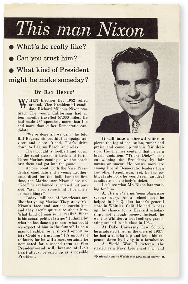 This Man Nixon. What's he really like? Can you trust him? What kind of President might he make someday? REPUBLICAN NATIONAL COMMITTEE, Ray HENLE.