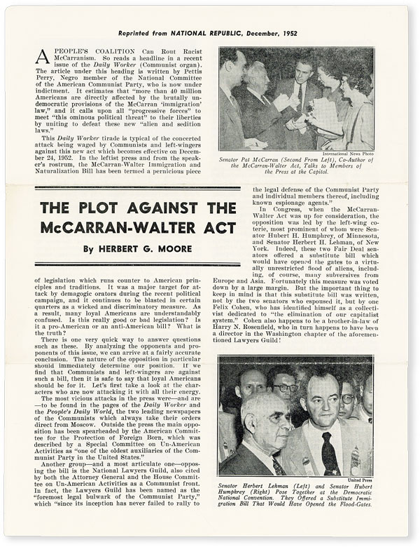 The Plot Against the McCarran-Walter Act. IMMIGRATION REFORM, Herbert G. MOORE.