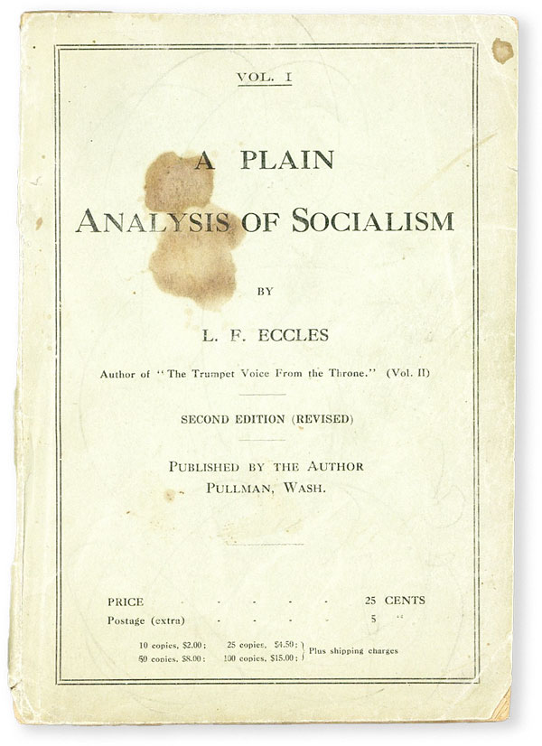 Vol. I. A Plain Analysis of Socialism. Second Edition (Revised). ECCLES, ewis, ranklin.