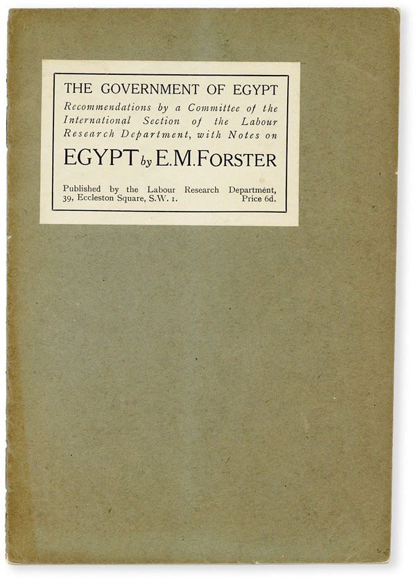 The Government of Egypt. E. M. FORSTER, Edward Morgan.