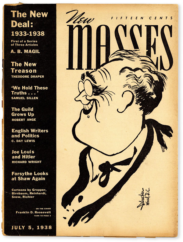 New Masses - Vol.XXVIII, No.2 (July 5, 1938). Georges SCHREIBER, Richard WRIGHT, cover art, contributor.
