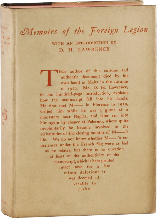 Memoirs of the Foreign Legion. M M., D. H. Lawrence, intro, Maurice MAGNUS.