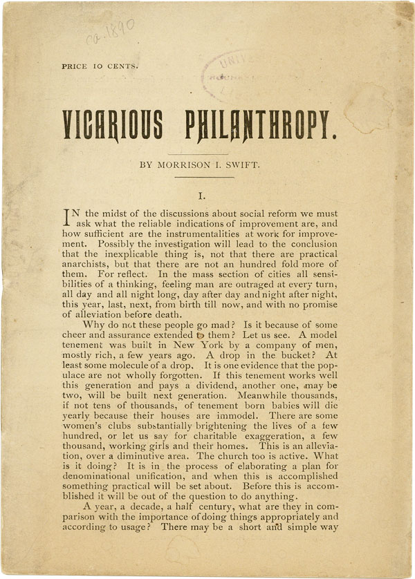 Vicarious Philanthropy. ANARCHISTS & I. W. W., Morrison I. SWIFT.