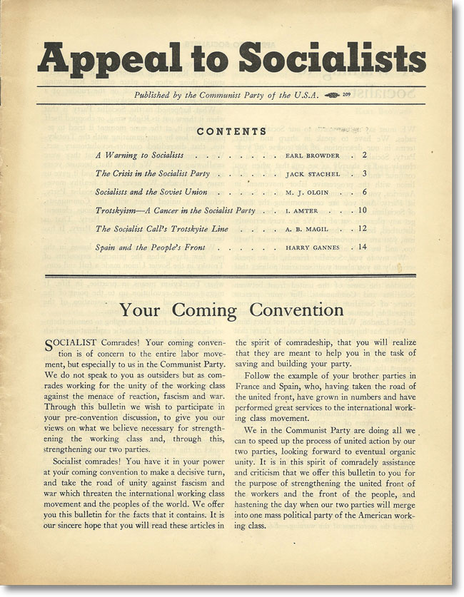 Appeal To Socialists. Published by the Communist Party of the U.S.A. CPUSA, SOCIALIST PARTY OF AMERICA, Earl BROWDER, Israel AMTER, others.