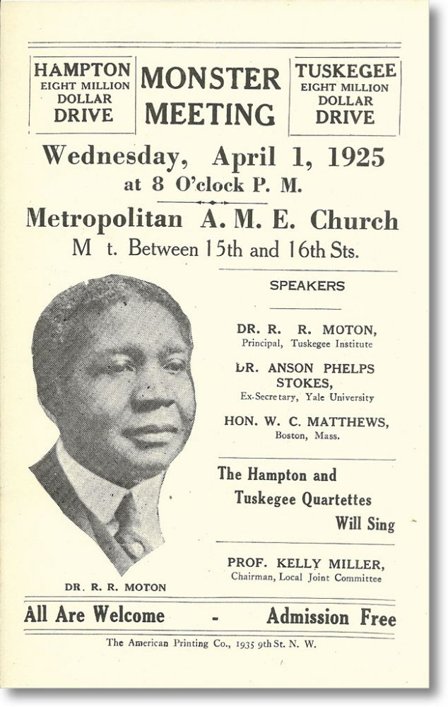 [Broadside / Handbill] Monster Meeting Wednesday, April 1, 1925 ... Metropolitan A.M.E. Church [with] Program / Hampton-Tuskegee Eight Million Dollar Drive