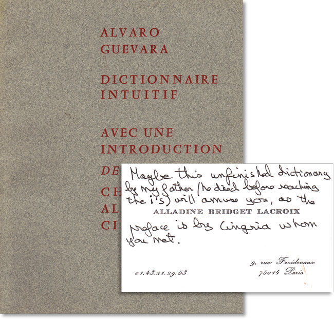 Dictionnaire Intuitif. Introduction de Charles-Albert Cingria. DICTIONARIES, Alvaro GUEVARA