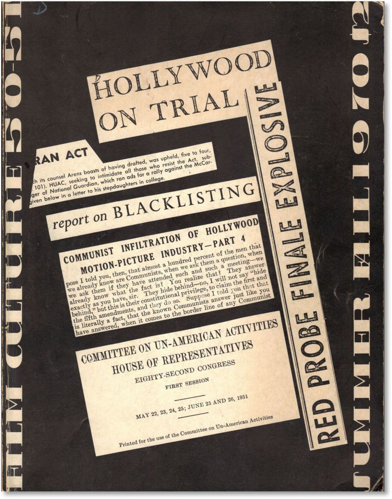 Film Culture 50-51 (Summer-Fall 1970). Hollywood Blacklisting. HOLLYWOOD RED SCARE -...