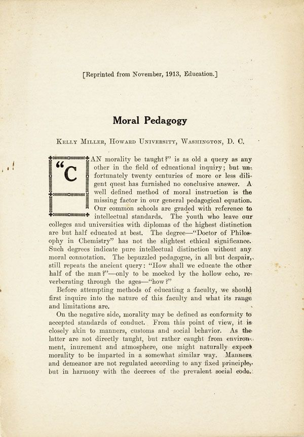 "Moral Pedagogy. Reprinted from ""Education,"" November, 1913. AFRICAN-AMERICANA, Kelly MILLER"