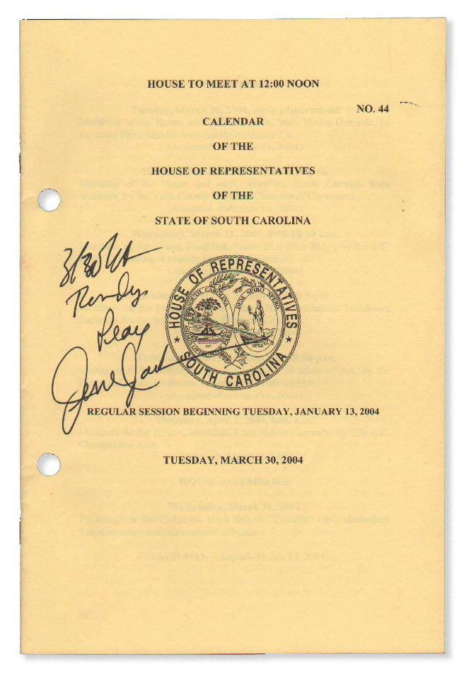 Autograph Inscription, 2004, on Official Daily Calendar of the House of Representatives of the...