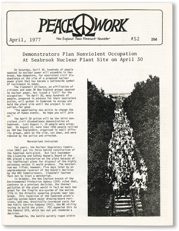 Peacework: New England Peace Movement Newsletter #52 (April, 1977). A F. S. C